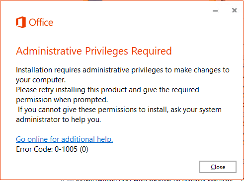 Administrative Privileges Required